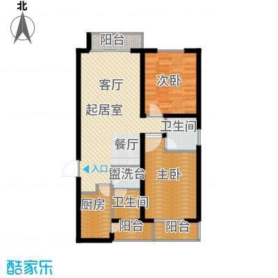 天水丽城二期122.54㎡A2 两室两厅两卫户型2室2厅2卫