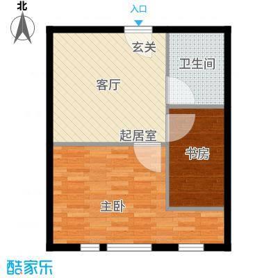 丁豪广场51.03㎡GHK住宅 两室一厅一卫户型2室1厅1卫