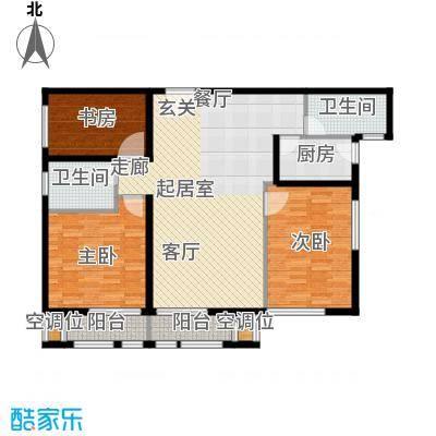 丁豪广场121.75㎡EF住宅 三室两厅两卫户型3室2厅2卫