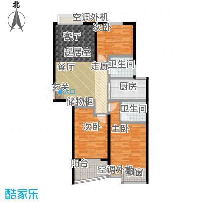 枫林湾116.00㎡E户型三房两厅两卫,面积约116㎡户型3室2厅2卫