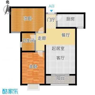 绿朗时光91.16㎡7号楼B1户型2室2厅1卫