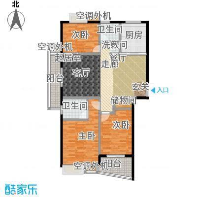 枫林湾129.00㎡C户型,三室两厅两卫,面积约129㎡户型3室2厅2卫