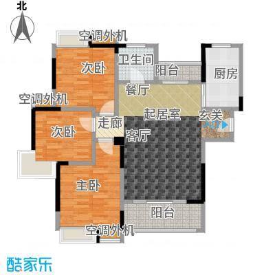 君怡美筑3-A户型 109平米 三居室户型3室2厅1卫