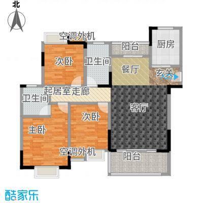 君怡美筑3-A1户型 123平米 三居室户型3室2厅2卫