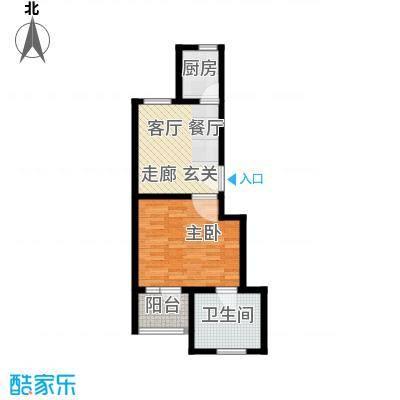 神池龙泉溪52.78㎡22#A 1单元 一室一厅一卫户型1室1厅1卫