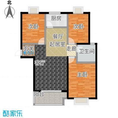 金猴北城名居户型3室1卫1厨
