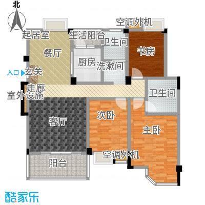 君怡美筑2-A户型 120平米 三居室户型3室2厅2卫