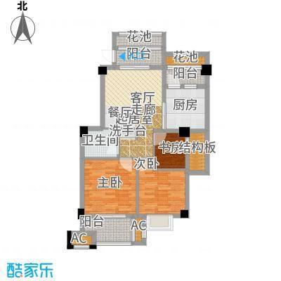 诚盛御庭82.00㎡82平米 三居室户型3室2厅1卫