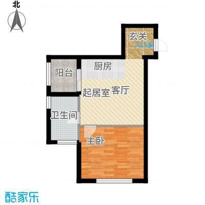 河海龙湾55.00㎡户型图户型1室1厅1卫