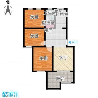 香缇花园88.72㎡B中间户型2楼,三室两厅一卫,面积约88.72㎡户型3室2厅1卫