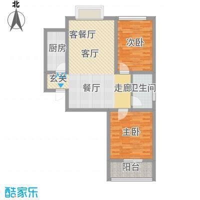 鹿城一号两室两厅一卫户型