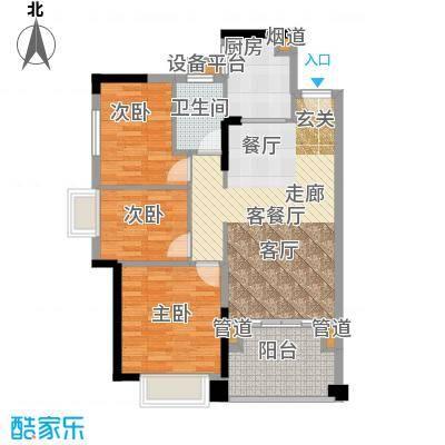 龙光水悦龙湾90.09㎡B6户型90.09㎡3房2厅1卫户型3室2厅1卫
