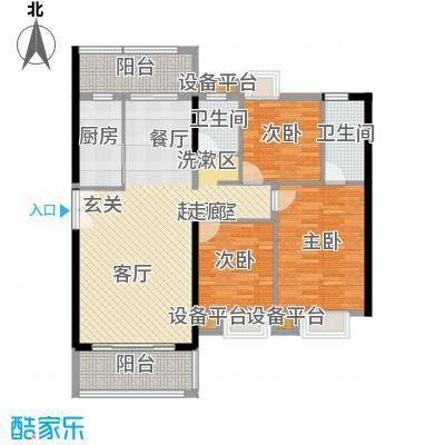 富雅国际三房两厅两卫(1+1)阳台,约135.5㎡户型