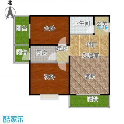 东润花园83.74㎡东润花园15#B户型2室2厅1卫