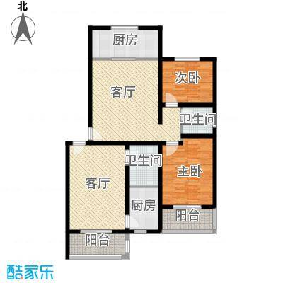 藏龙镇110.41㎡两居B户型2室2厅2卫