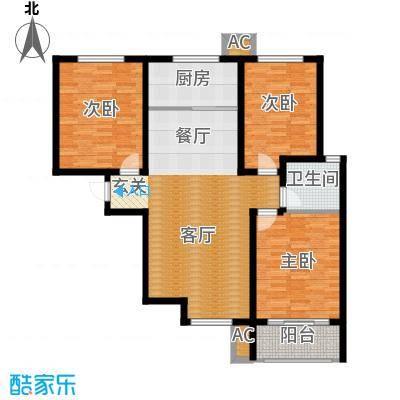 紫金蓝湾115.33㎡c2户型 三室两厅一卫户型