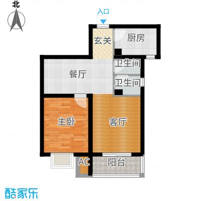 紫金蓝湾66.07㎡d3户型 一室两厅一卫户型