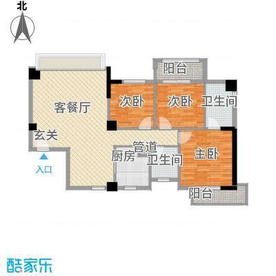 永鸿御景湾60号楼01/06单元 114平米 三房两厅两卫两阳台户型