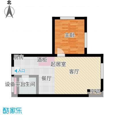 幸福公馆74.28㎡E户型一室一厅户型1室1厅1卫