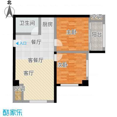 幸福公馆110.68㎡B户型两室一厅户型2室1厅1卫