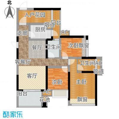 建曙高尔夫1号96.00㎡B-4(2+1户型)3房2厅2卫1入户花园户型
