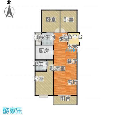 上城上林苑133.18㎡8号楼L户型3室2厅2卫
