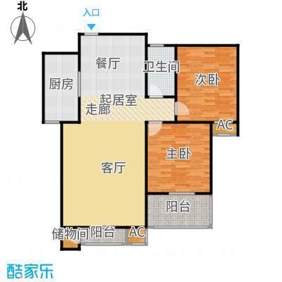 钟秀花园C户型图户型2室2厅1卫