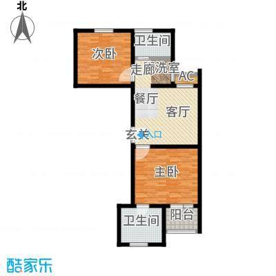 神池龙泉溪80.09㎡22#A-2单元 两室一厅两卫户型2室1厅2卫