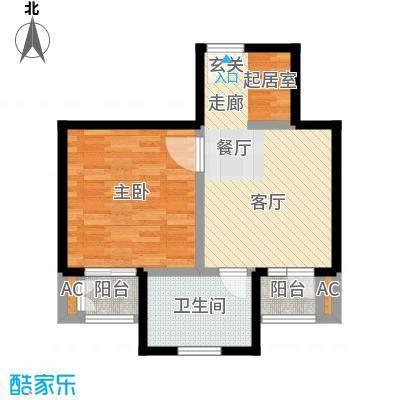 神池龙泉溪56.25㎡21#C-1单元 一室一厅一卫户型1室1厅1卫