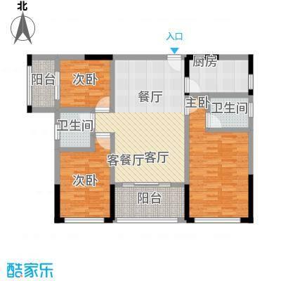 永鸿御珑湾96㎡三房两厅两卫户型