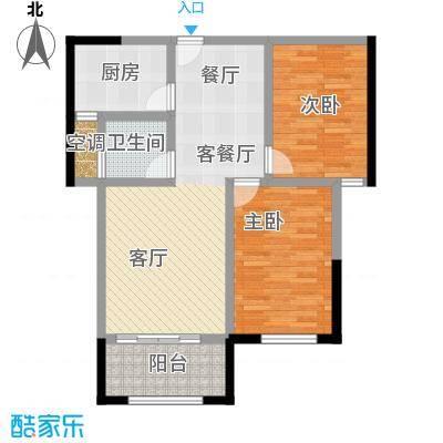 永鸿御珑湾76㎡两房两厅一卫户型