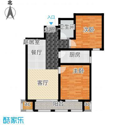 荣鼎天下96.11㎡两室两厅一卫户型96.11平米户型2室2厅1卫