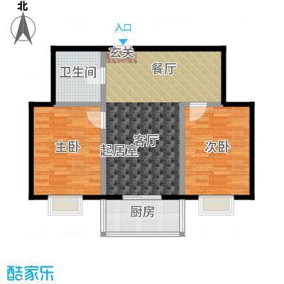 御龙苑87.91㎡御龙苑2号楼B户型2室2厅1卫1厨 87.91平米户型2室2厅1卫