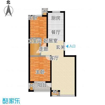 龙港花园108.00㎡户型2室2厅1卫