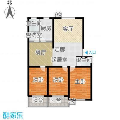 鑫河湾139.26㎡三室两厅两卫户型3室2厅2卫
