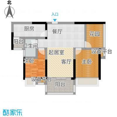 江湾公馆87.00㎡B户型87-89㎡ 2+1房2厅1卫户型2室2厅1卫