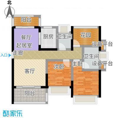 江湾公馆104.00㎡C户型102-104㎡ 2+1房2厅2卫户型2室2厅2卫