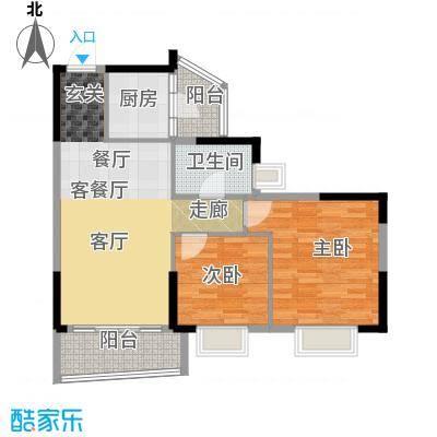 银信花园83.00㎡83平米 二房二厅一卫户型2室2厅1卫