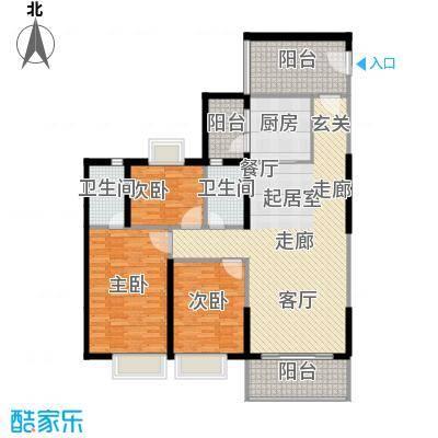 嘉逸园133.27㎡2栋2单元133平米三房二厅二卫户型3室2厅2卫