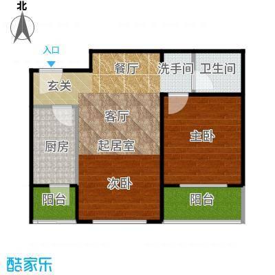 东润花园67.31㎡东润花园15#C户型2室2厅1卫