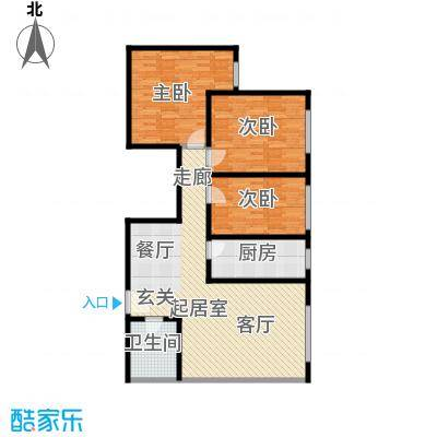 融亿海盈城市花园112.20㎡三室两厅一卫 112.20平方米户型3室2厅1卫