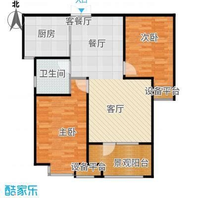 百岛绿城91.02㎡15、17号楼B户型2室2厅1卫