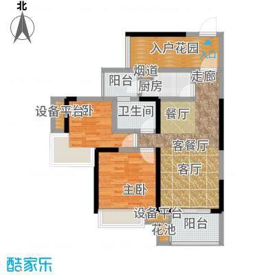 建曙高尔夫1号72.00㎡B-3(2房户型) 2房2厅1卫1入户花园户型
