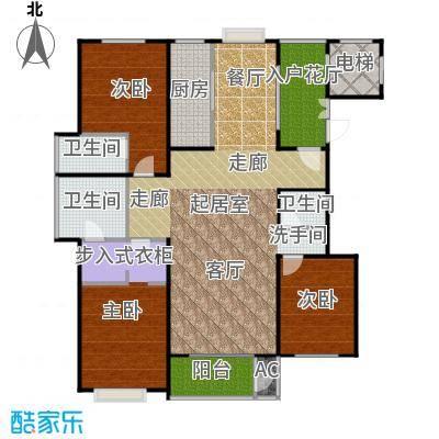 太原香颂146.18㎡12号楼U户型 三室两厅两卫 146.18平米户型3室2厅2卫