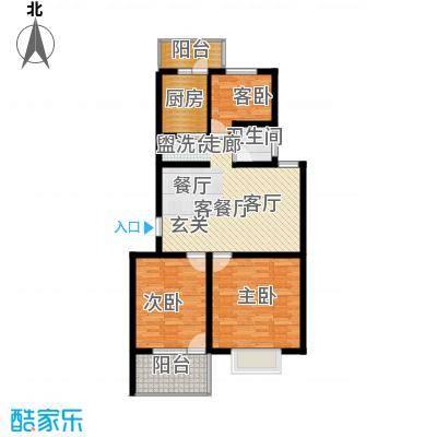迪尚御园户型3室1厅1卫1厨