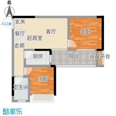 恒泰嘉园派69.00㎡1栋05/2栋02户型 69平米两房两厅一卫户型