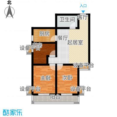 盛世长风二期101.44㎡6号楼7号楼C户型 三室一厅一卫 101.44平米户型3室1厅1卫