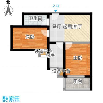 盛世长风二期64.54㎡6号楼7号楼E户型 两室一厅一卫 64.54平米户型2室1厅1卫