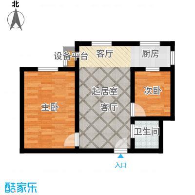 盛世长风二期62.85㎡6号楼7号楼A户型 两室一厅一卫 62.85平米户型2室1厅1卫