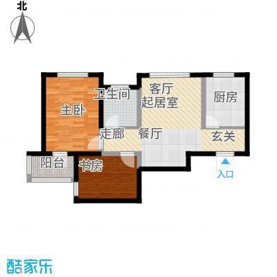 富城茗居二期83.17㎡6#7#G1-2户型2室2厅1卫